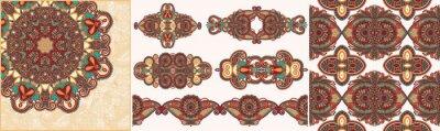 set of ornamental decorative ethnic floral adornment
