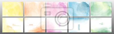 Naklejka Set of pastel color watercolor background