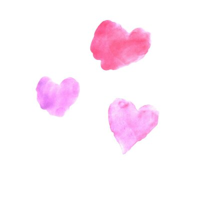 Set of pink red and blue watercolor hearts. Perfect for creating romantic postcards and Valentines Day decor. Hand drawn. Isolated on white background