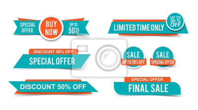 Naklejka Set of Sale tags or banners, special offer headers, discount stickers. Vector elements for website design
