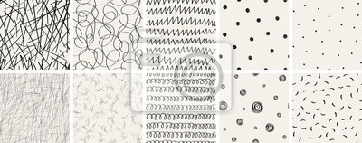 Naklejka Set of seamless abstract hand-drawn patterns. Vector modern creative backgrounds for your design