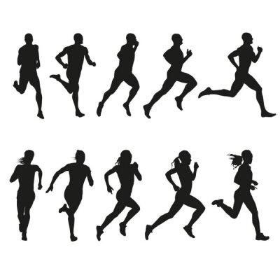 Naklejka Set of silhouettes of running men and women