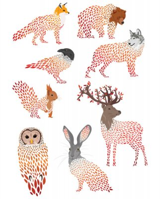 Naklejka Set of stylized animals. Collection of cartoon forest animals. Logos of wild animals. Illustration for children.