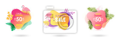 Naklejka Set of Summer sale banner template. Liquid abstract geometric bubble with tropic flowers, flamingo. Tropical background and backdrop, Promo badge for seasonal offer, promotion, advertising. Vector