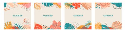 Naklejka Set of summer social media post template with space for text.Promotional content.Colorful abstract vector design background for poster, invitation and cover with tropical leaves, shapes and textures
