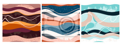 Naklejka Set of three hand drawn abstract contemporary seamless patterns. Smooth lines. Stone texture. Modern trendy colorful illustration in vector. Marbleized effect. Every pattern is isolated