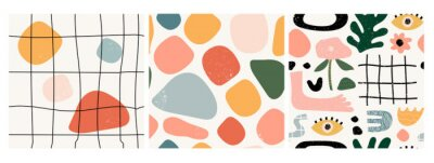 Naklejka Set of three seamless patterns. Hand drawn various shapes and doodle objects. Abstract contemporary modern trendy vector illustration. Stamp texture. Every pattern is isolated