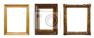 Naklejka Set of three vintage golden baroque wooden frames on isolated background