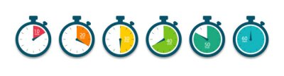 Naklejka Set of timer. Stopwatch icons. Countdown 10.20,30,40,50,60 minutes. Vector