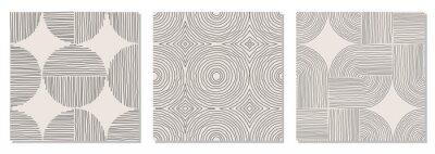 Naklejka Set of trendy minimalist seamless pattern with abstract hand drawn composition