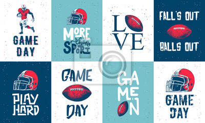 Naklejka Set of vector engraved style posters, decoration and print. Hand drawn sketches of american football with modern typography and lettering. Detailed vintage etching style drawing.