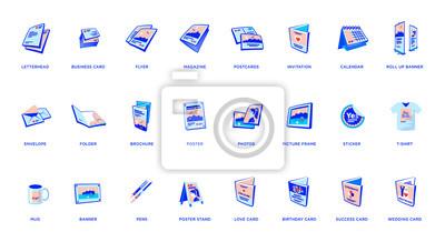 Naklejka Set of vector printout icons. Brochure, business card, flyer, magazine, postcard, poster, banner, rollup, sticker, mug, folder, other printing shop products. Promotion print advertising materials.