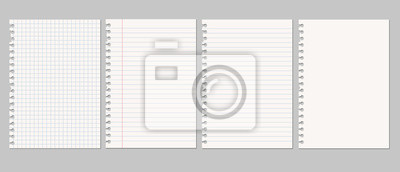 Naklejka Set of vector realistic illustrations of a torn sheet of paper from a workbook with shadow, isolated