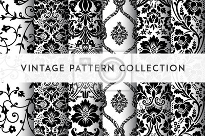 Naklejka Set of Vector seamless damask patterns. Rich ornament, old Damascus style pattern for wallpapers, textile, packaging, design of luxury products - Vector Illustration