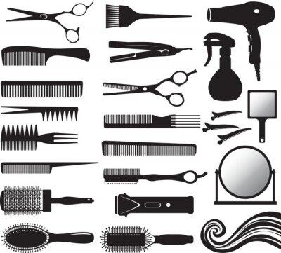 Naklejka Set of vector silhouette of hairdressers tools