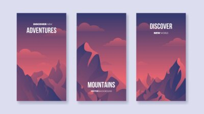 Set of vertical vector landscapes with silhouettes of mountains and clouds