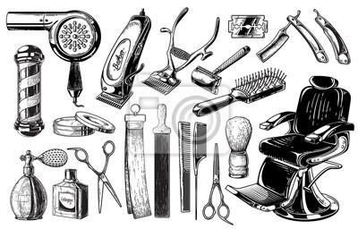 Naklejka Set of vintage barbershop emblems labels badges logos scissors blade brush pole. Isolated on white background. Vector illustration