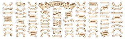 Naklejka  Set of vintage scrolls ribbons on white. old blank banners vector illustration