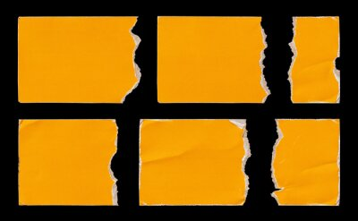 Set of Yellow Torn Ripped Paper Pieces Edges Cards isolated on White Background