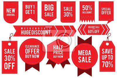 Naklejka Set ribbon banner and label sticker sale offer and badge tag sale advertising