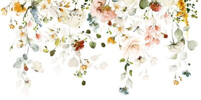 Naklejka Set watercolor arrangements with garden roses. collection pink, yellow flowers, leaves, branches. Botanic illustration isolated on white background.