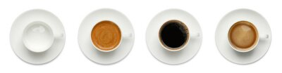 Naklejka Set with cups of hot aromatic coffee on white background, top view. Banner design