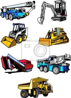 Seven multi-kolorowe maszyny cars.Construction budynek.