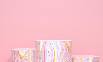 Several marble cylindrical podiums on a pink background. 3d rendering
