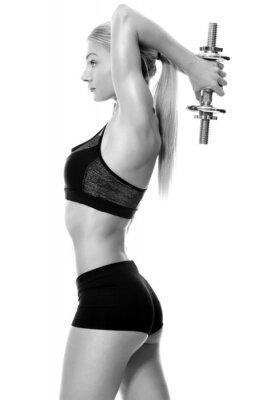 Naklejka Sexy i nadające Kobieta podnoszenia ciężarów ręcznie
