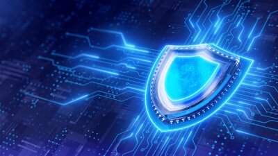 Naklejka Shield. Protect and Security concept. Digital Shield on abstract technology background. 3d rendering