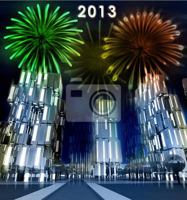 Shiny uroczystości pokaz fajerwerków nad miastem wieżowiec