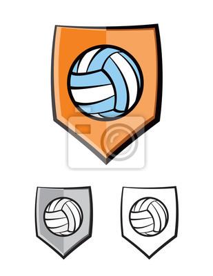 Siatkówka Tarcza emblemat Ikony Ilustracja