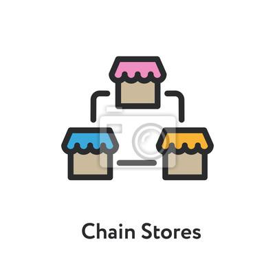 Sieć sklepów Sklep fasada budynku Minimalna kolor Płaska linia kontur ikona obrysu