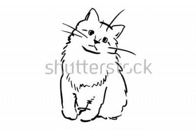 Naklejka Siedzący kotek. Szkic wektor czarno-biały. Prosty rysunek na białym tle.