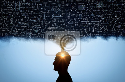 Naklejka Silhouette of a man, with thoughts in the form of physico-mathematical formulas. The concept of scientific and education topics.