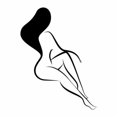 Naklejka Silhouette of a naked woman