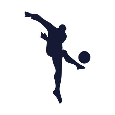 silhouette of football player with balloon