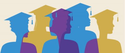 Naklejka Silhouette of graduates in profile isolated, silhouette vector stock illustration with People at graduation, Bachelors and Masters as graduates of college, university