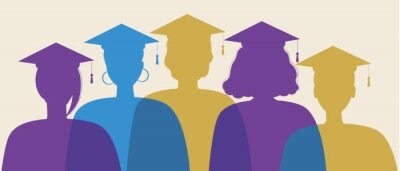 Naklejka Silhouette of graduates isolated, flat stock illustration with young graduates in square academic caps as a symbol of science, higher education concept