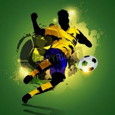 Silhouette piłkarz strzelanie na kolorowe tło abstrakcyjna