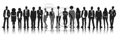 Naklejka Silhouettes Group People Row Team Teamwork Concept