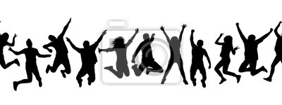Naklejka Silhouettes of many different jumping people, seamless pattern. Isolated on white background.