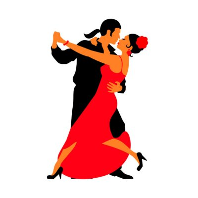 Naklejka Silhouettes of the pairs dancing ballroom dances. Tango