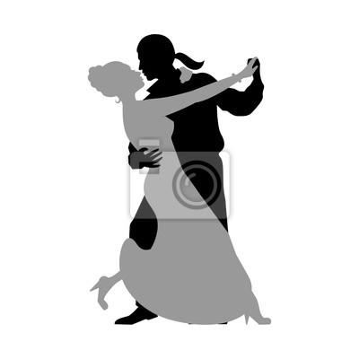 Naklejka Silhouettes par taniec towarzyski dances. Tango