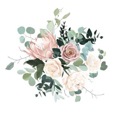 Naklejka Silver sage and blush pink flowers vector design bouquet.