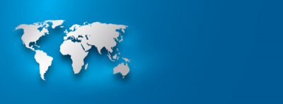 silver world map on blue gradient background