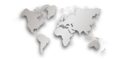silver World map with shadow - vector illustration of earth map on transparent background
