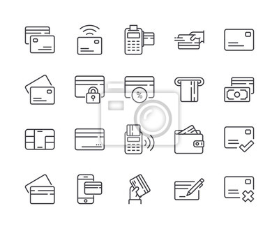 Simple Set of Credit Card Line Icon. Editable Stroke