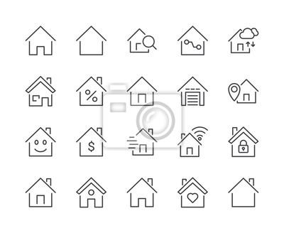 Simple Set of House Line Icon. Editable Stroke