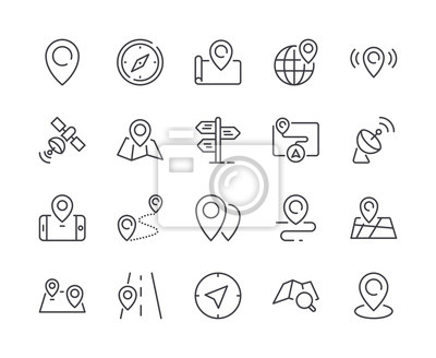 Simple Set of Map & Location Line Icon. Editable Stroke